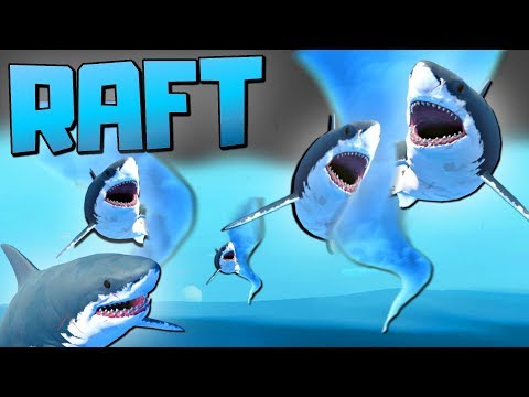 RESEARCHING AMAZING NEW ITEMS TO SURVIVE THE SHARKNADO STORM - Let's Play Raft Game / Raft Gameplay