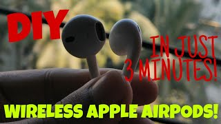 DIY WIRELESS APPLE AIRPODS!-IN JUST 3 MINUTES | JBL, TECH N MORE