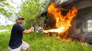 Using a FLAMETHROWER to BURN My Farm House DOWN!!!!
