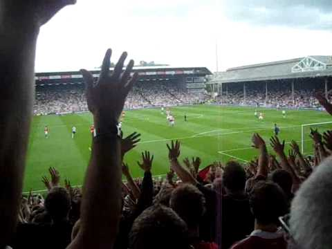 Man Utd fans singing Ooh Aah Cantona and We'll drink to Erik the King at Craven Cottage!