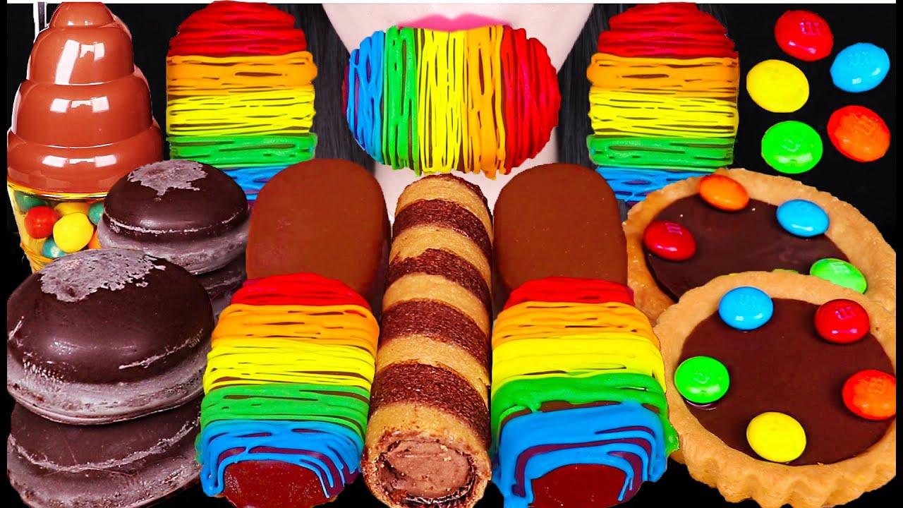 ASMR RAINBOW CHOCOLATE ICE CREAM, EDIBLE POOP CANDY, M&M'S CHOCOLATE 무지개 초콜릿, 똥 캔디 먹방 EATING SOUNDS