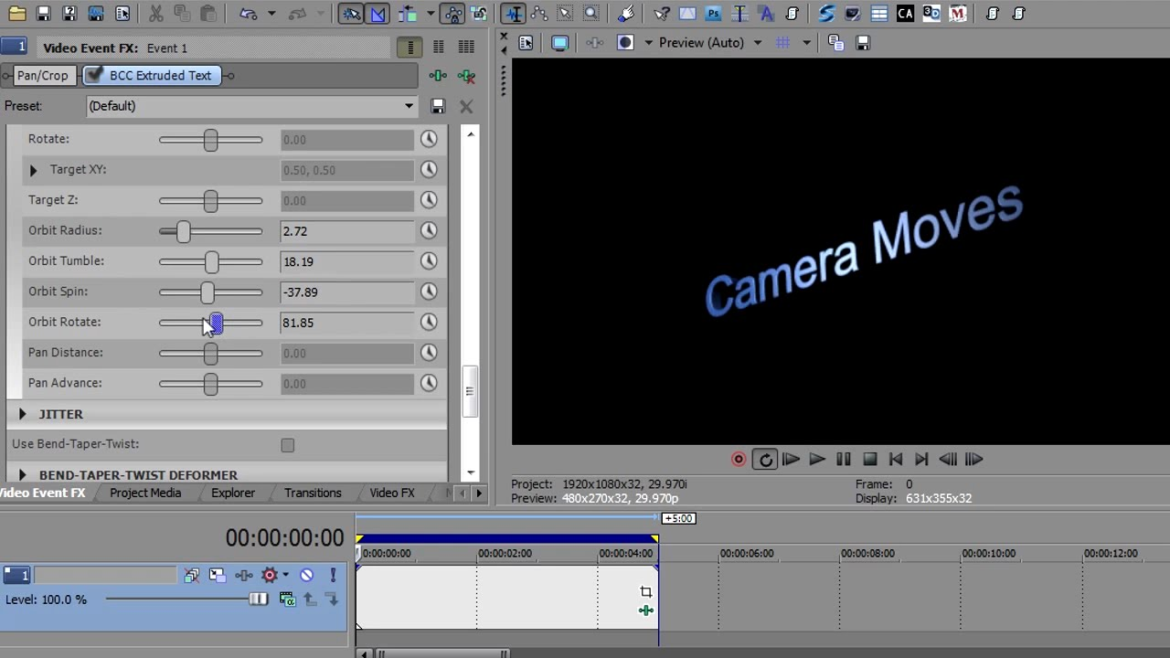 bcc extruded text in sony vegas pro 11