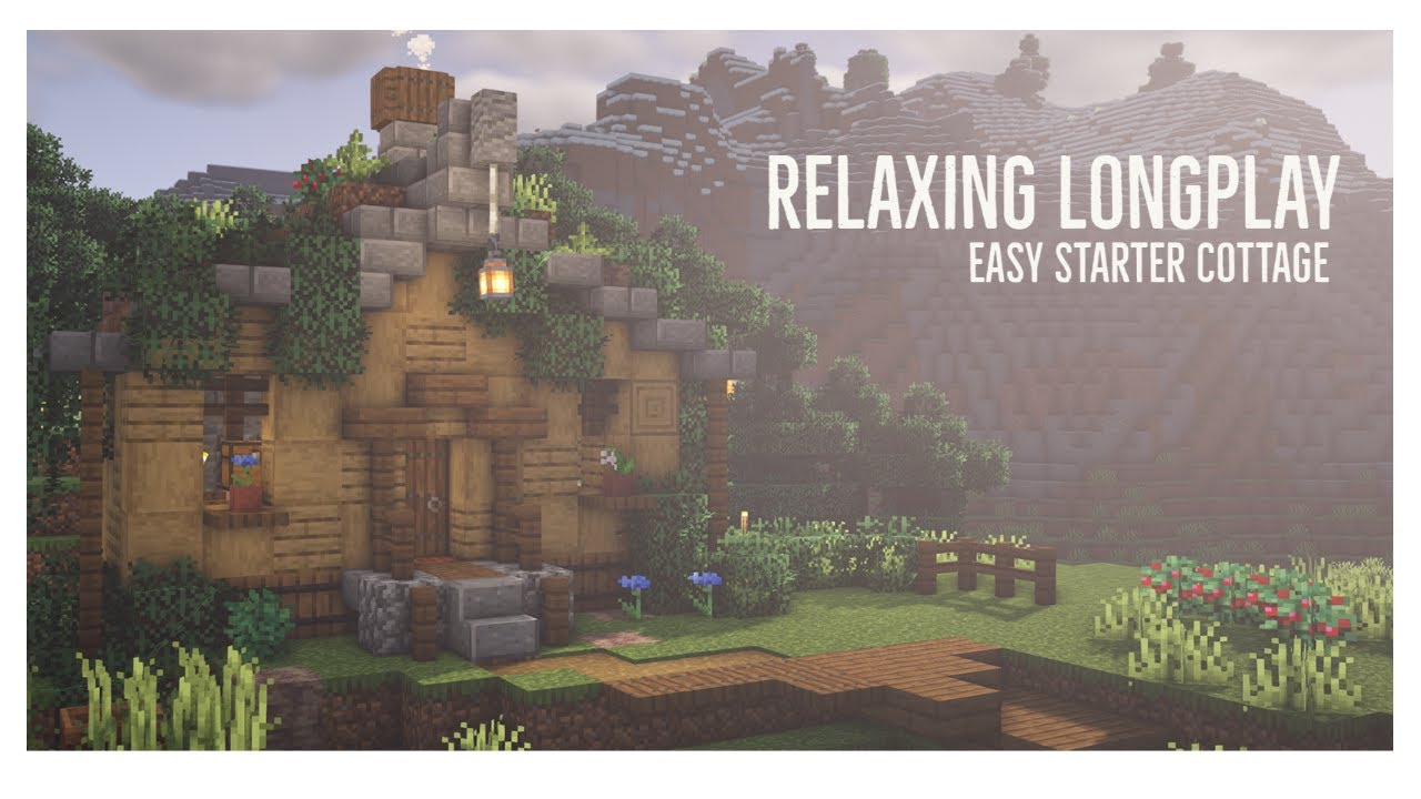 Minecraft Relaxing Longplay - Building a Starter House, CottageCore (No Commentary) 1.17.1