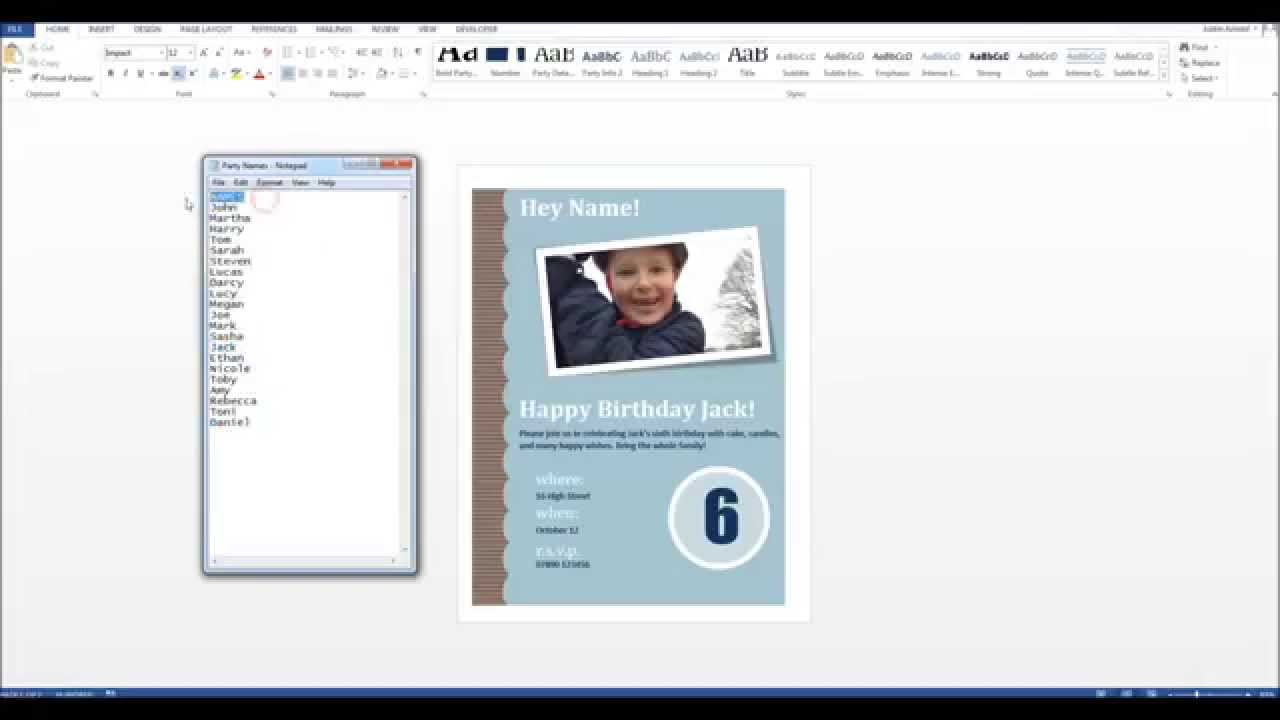 How To Personalise Party Invitations Using Mail Merge YouTube - Birthday invitation on mail