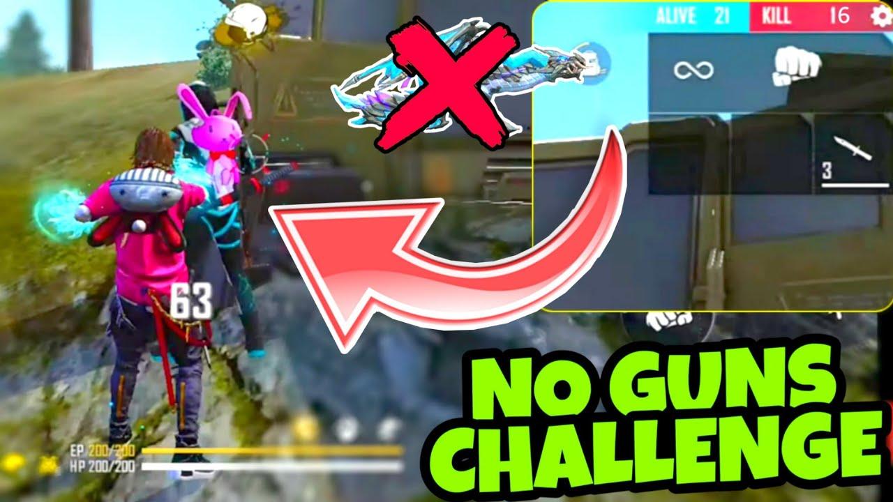 NO GUN CHALLENGE IN FREE FIRE    MUST WATCH 🤯   BEST GAMEPLAY