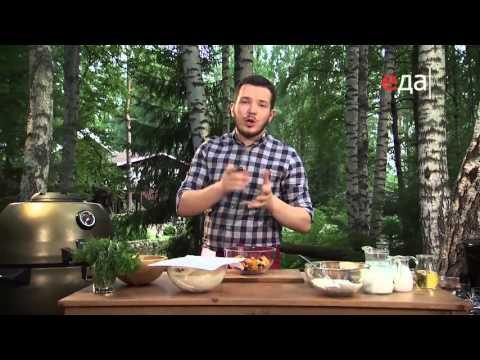 Пирог с лисичками и соусом из красной икры