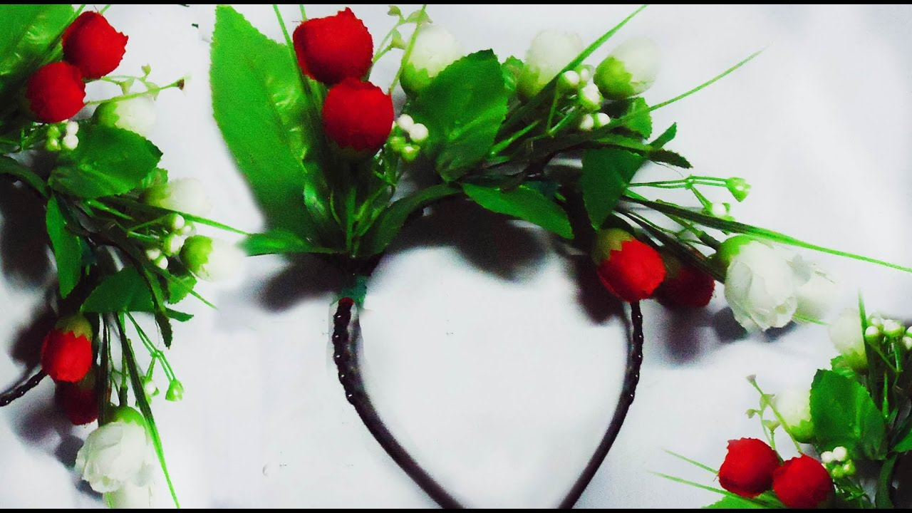 How To Make A Beautiful Floral Hair Band By Using Artificial Flower