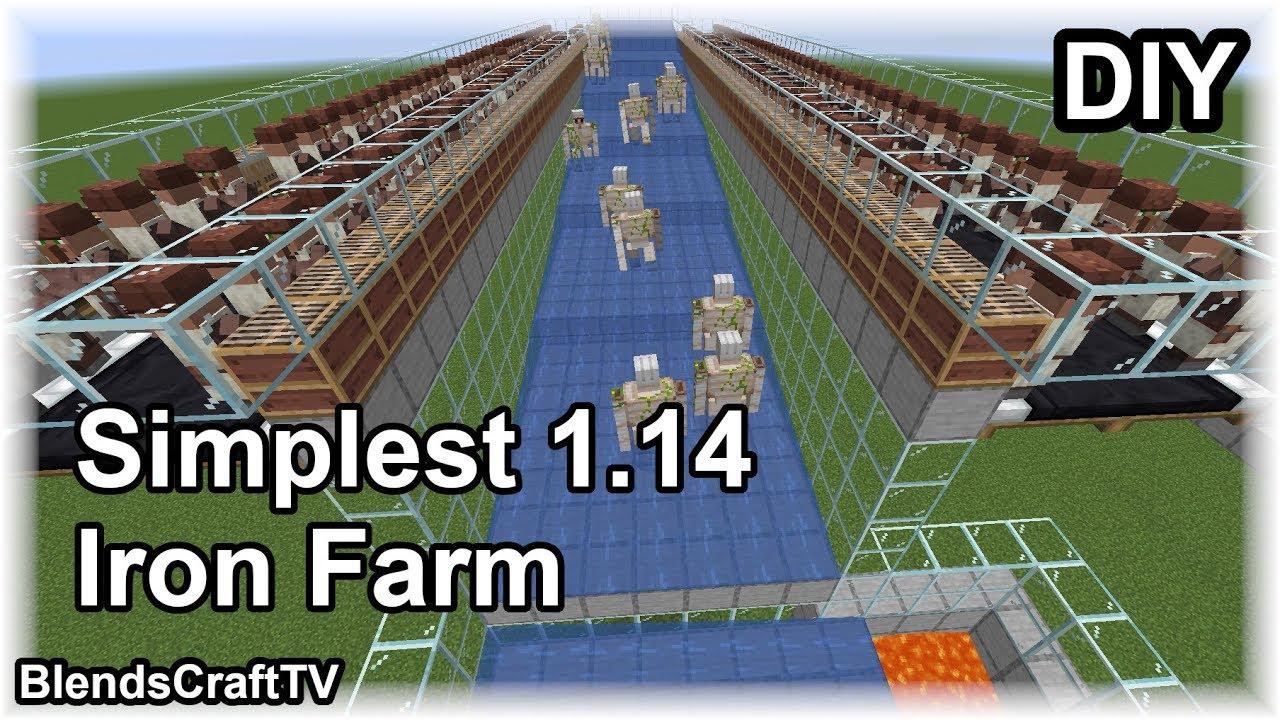 Simplest 1200 Hour Iron Farm Ever Minecraft 1 14 Basic Builds Youtube