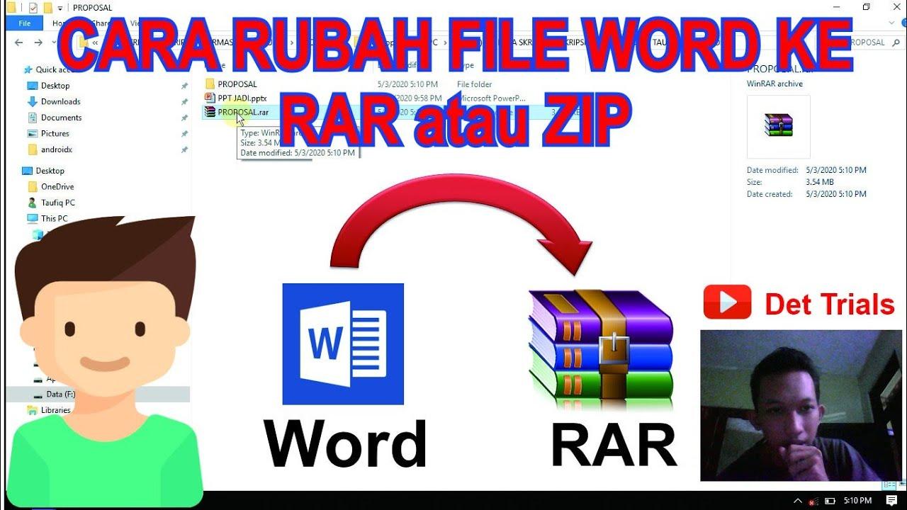 Cara Rubah File Word Ke Zip Atau Rar Convert Word Files To Zip Or Rar Youtube