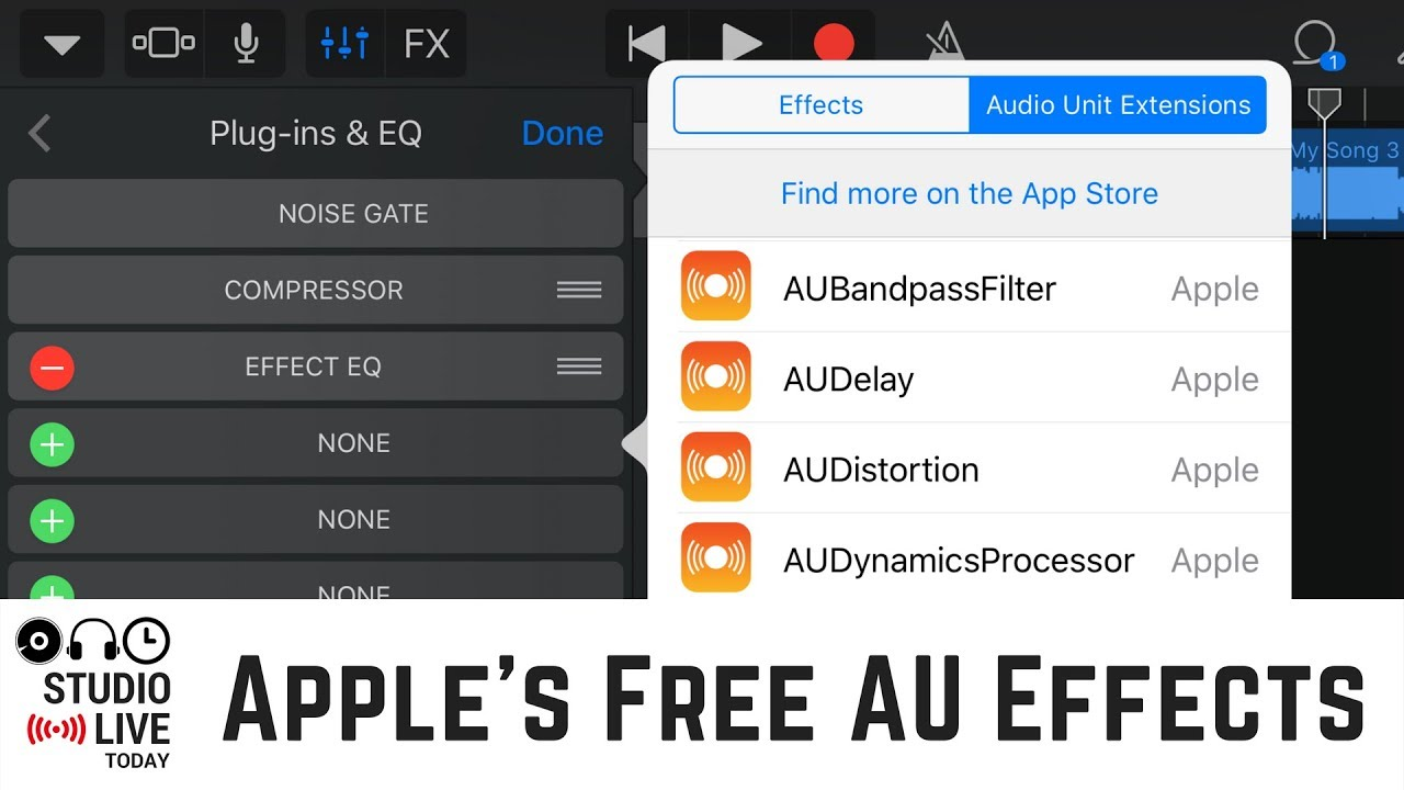 Using Apple's Audio Unit Plug-ins in GarageBand iOS (iPhone/iPad)