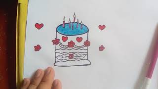 How to draw a birthday cake , learning drawing,