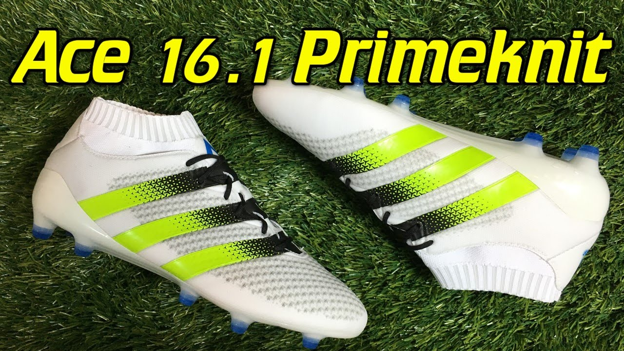 Adidas ACE 16.1 Primeknit White Solar Green Shock Blue - Review + On Feet -  YouTube 0bfe224ff3