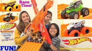 Hot Wheels Racing Playtime! NERF Guns and Monster Jam Trucks! Kids' Toy Car Racing Playtime