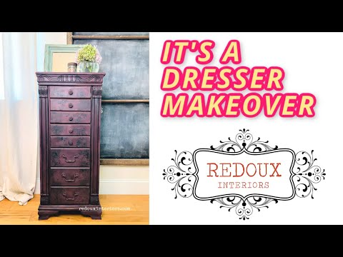 Makeover Dresser Jewelry Chest with DIY Paint, IOD and Black Wax