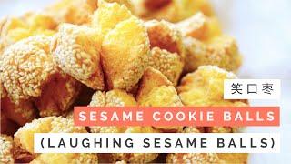 Sesame Cookie Balls Recipe (笑口枣 Laughing Sesame Balls) | Huang Kitchen