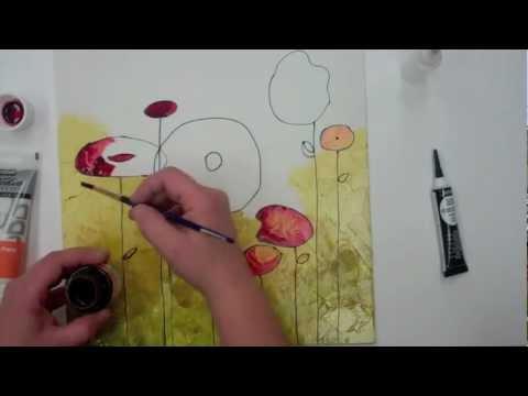 Pebeo vitrail on canvas youtube for Faux vitrail sur miroir