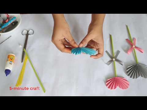 How to make paper craft flower l kagoj diya ful banano l
