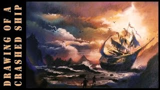 Soft pastel art | Drawing of a Ship in Storm with soft pastels seascape drawing