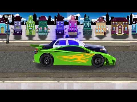 Snelle race auto ontsnapt van de politie