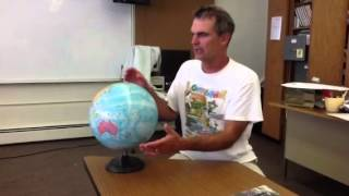Determining north, south, east, and west, on a globe