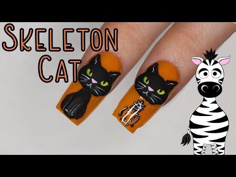 4D Skeleton Cat Acrylic Nail Art Tutorial | Halloween Cat 2019 thumbnail