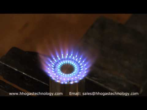 72 Hole Burner Hexane Fuel and HHO Gas Demonstration 4 13 2015