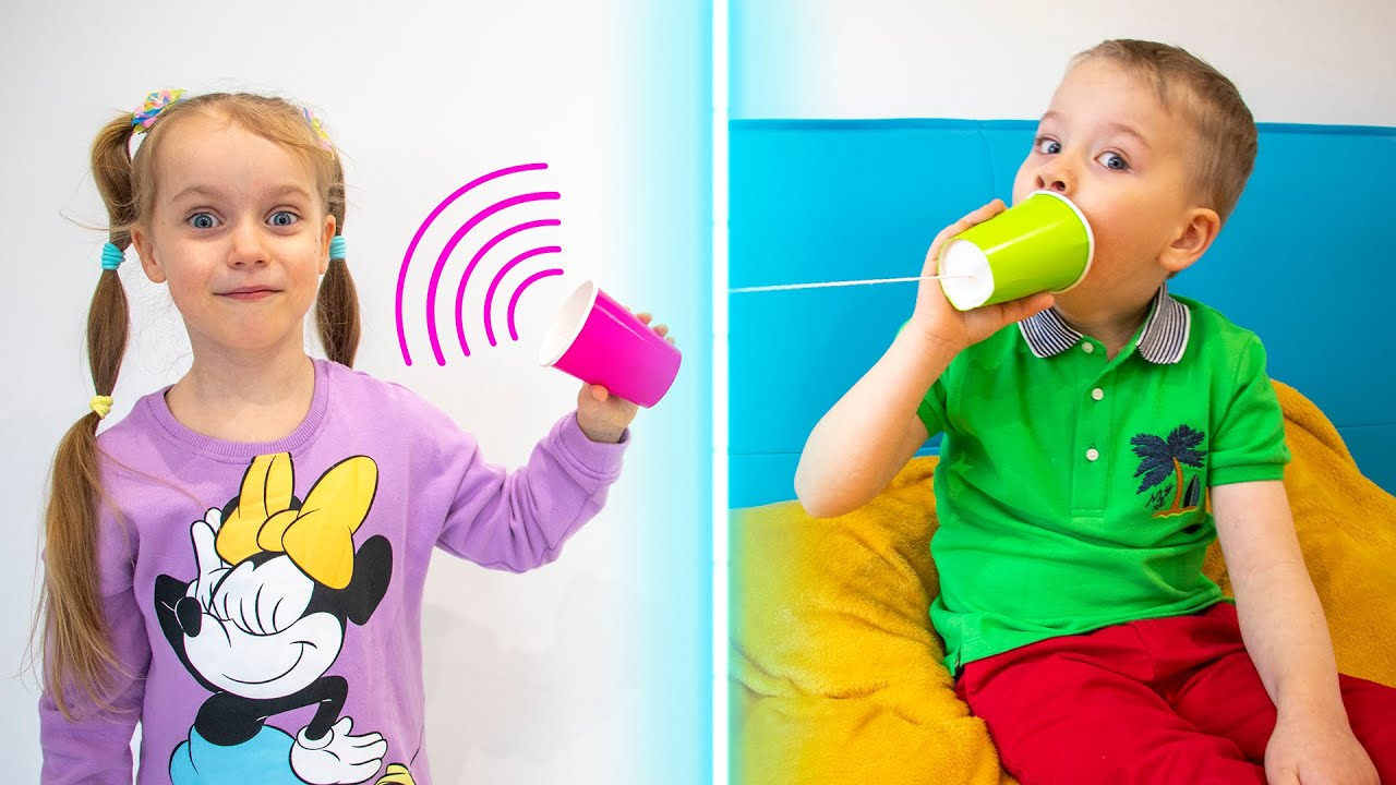 How to make DIY Cup Phone with Gaby and Alex. Educational video for kids
