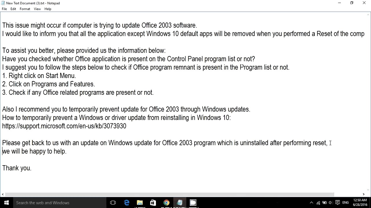 office 2003 problems with windows 10