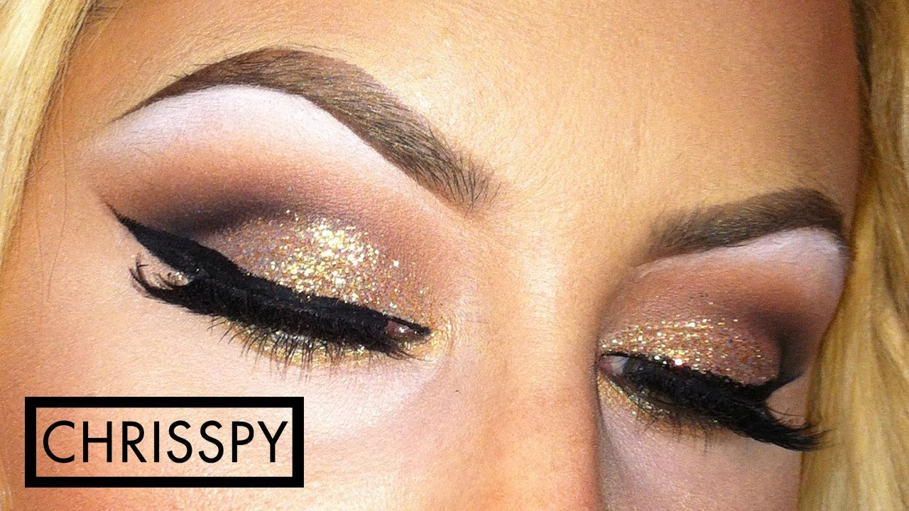 Gold Glitter Cut Crease + Brows - YouTube