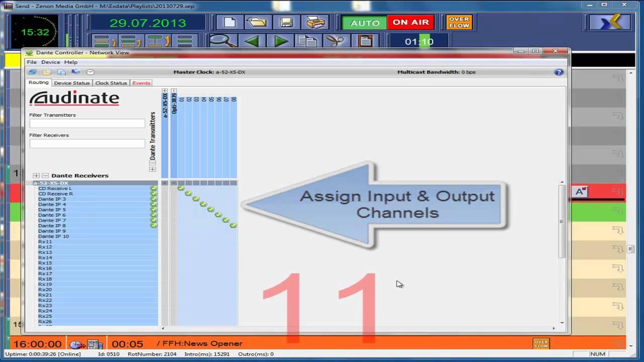 Zenon-Media using Dante Audio Driver Audio over IP