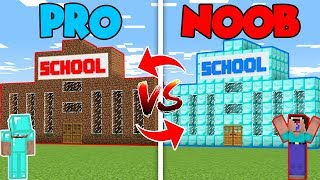 Minecraft NOOB vs. PRO : BUILDING SCHOOL in Minecraft (Compilation)