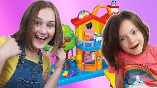 Liza and Dasha cut long hair very short and fun play in indoor playground | SKORIKI