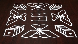 simple kolam with 9 dots || 9 dots rangoli || muggulu with 9 dots || 9 dots rangoli designs