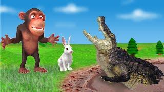 तालाब मगरमच्छ और बंदर खरगोश Hindi Kahaniya- 3d Animated Stories- Panchatantra Moral Stories In Hindi