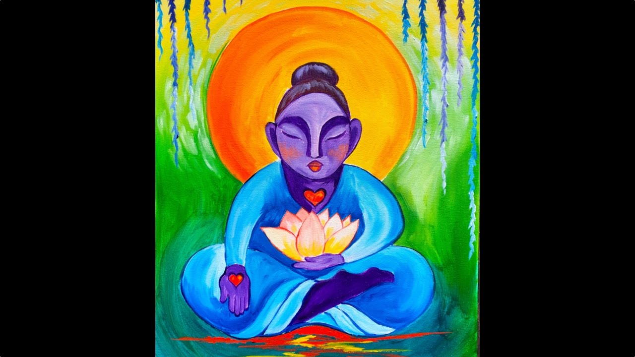 Buddha and lotus flower step by step beginner acrylic painting buddha and lotus flower step by step beginner acrylic painting tutorial izmirmasajfo