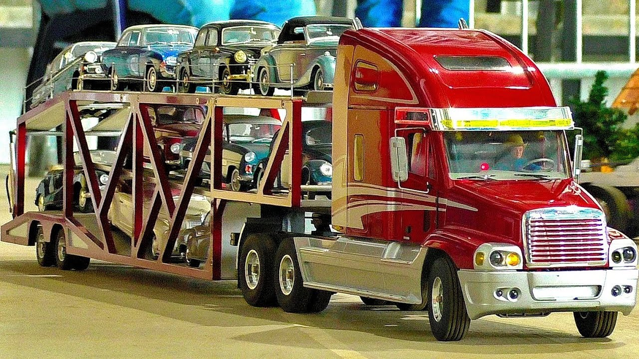 Large Rc Scale Model Truck Collection Amazing Trucks In Motion Ride Demonstration