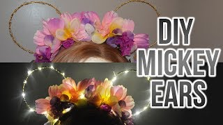 DIY Light Up Floral Mickey Ears | Under $10