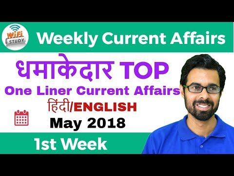 धमाकेदार Top One Liner Current Affairs | May 1st Week 2018