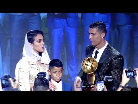 Cristiano Ronaldo wins Best Player Globe Soccer Awards 2018 attend fiancée and son