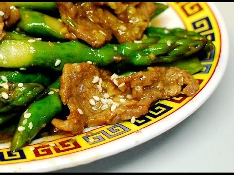 Ginger Beef with Asparagus in Hoisin Sauce : Authentic Chinese Cooking