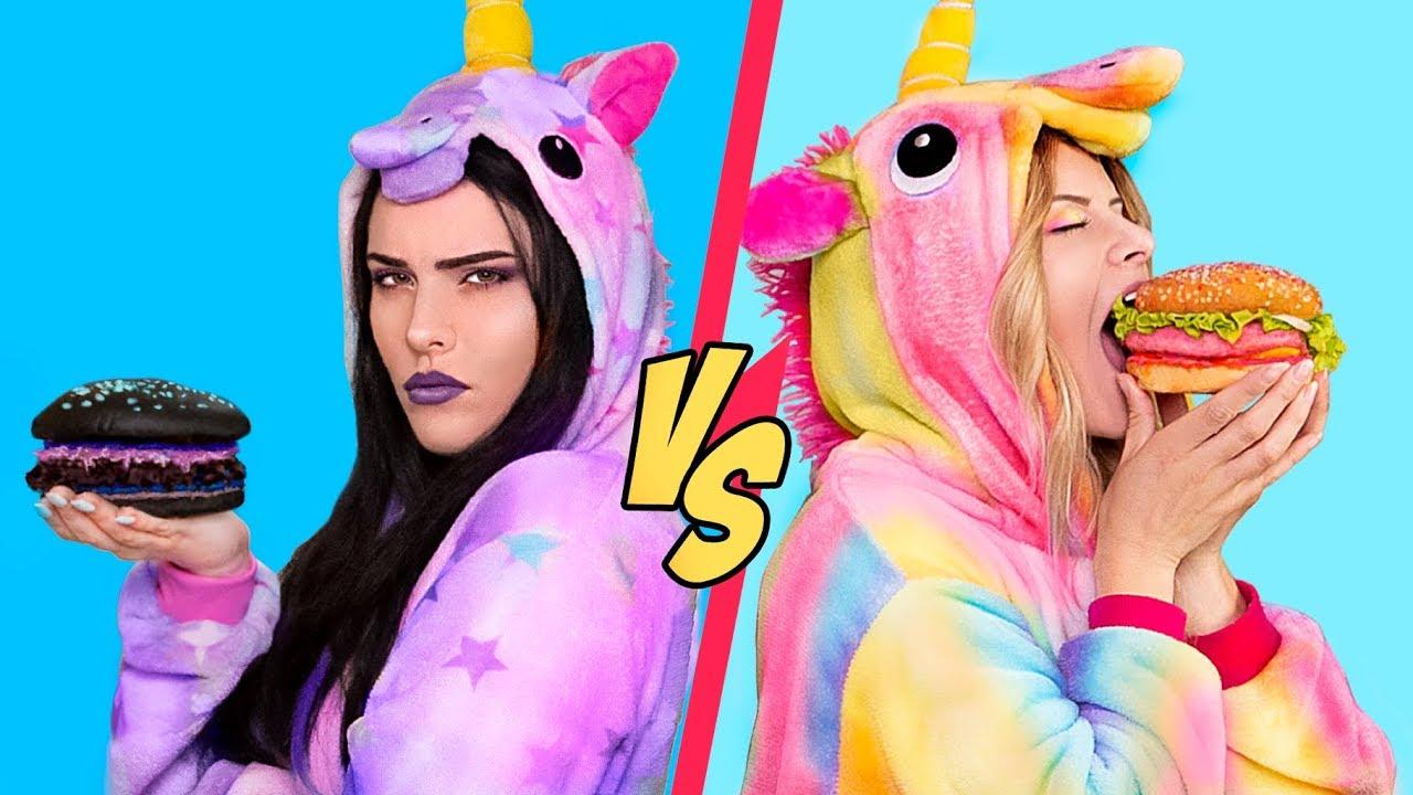 Good Unicorn Food vs Bad Unicorn Food Challenge! / 11 Rainbow Unicorn Recipes 3