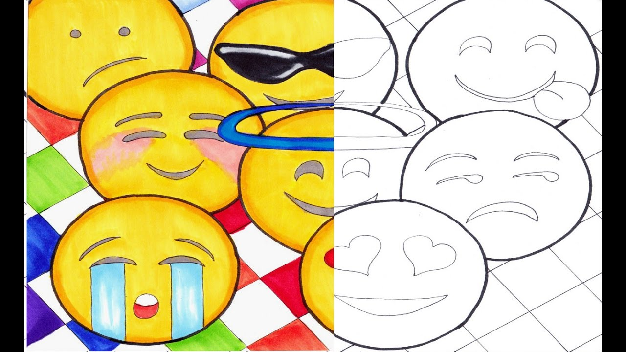 Free coloring pages emojis - Free Coloring Page Emoji Marker Art