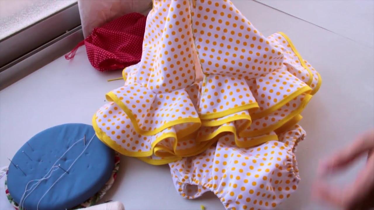 bab7fe0601 3. DIY costura fácil - Vestido flamenca bebé - culote - YouTube