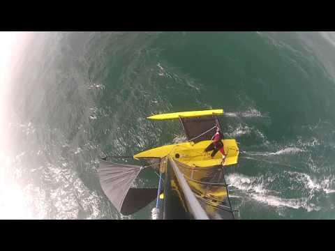 Weta Trimaran pitchpole & recovery shot on GoPro HD