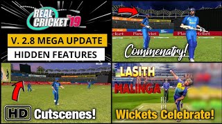 Real Cricket 19 V2.8 Top Hidden Features | New Cutscenes & Wickets Celebration | Hindi Commenatary |