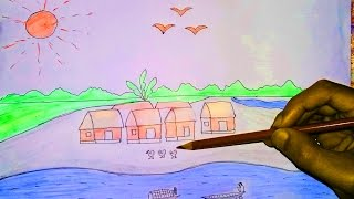 Village Scenery Drawing For Kids | Magic Haker