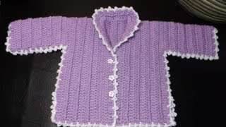 Repeat youtube video How to crochet a baby sweater Lilac - with Ruby Stedman