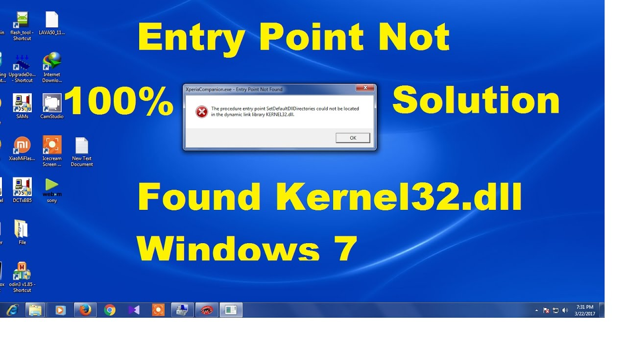 Xperia Companion Entry Point Not Found Solution - YouTube