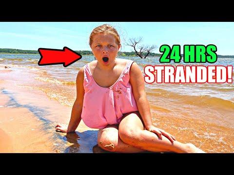 24 HOURS STUCK on an ISLAND! Aubrey & Caleb Explore a Mysterious Island!