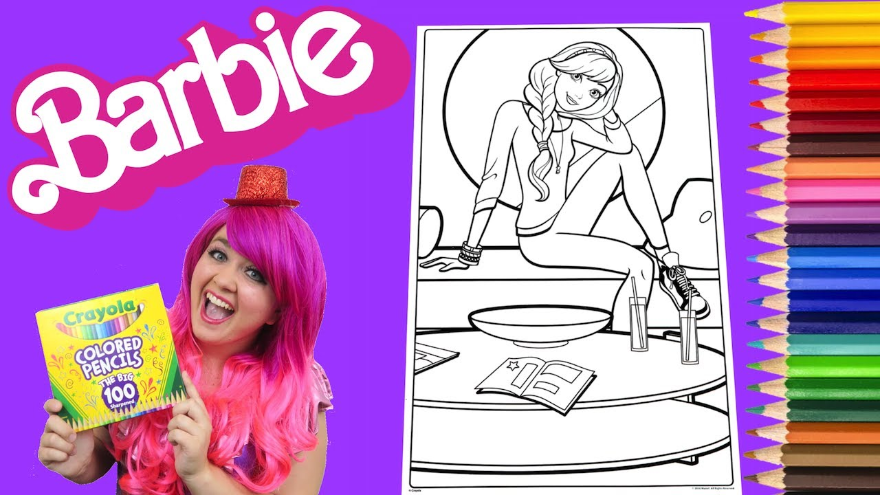 coloring barbie giant coloring book page crayola crayons colored pencil kimmi the clown